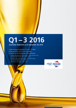 Cover of the Quarterly Statement Q1-3 2016 of FUCHS PETROLUB SE